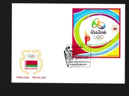 Belarus FDC 2016 Rio De Janeiro Olympic Games Souvenir Sheet (G112-44) - Verano 2016: Rio De Janeiro