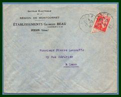Hirson (Aisne 02 ) Type A 4 1934 /N° Paix Ets G. Beau Secteur Electrique Région De Montcornet - Marcophilie (Lettres)