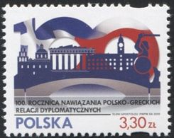 POLAND 2019 Fi 4956 Establishment Of Polish-Greek Diplomatic Relations, Symbolic Bridge, Greece, Pantheon MNH** - 1944-.... Republic