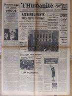 Journal L'Humanité (14 Oct 1963) Avant Obsèques Edith Piaf Et Jean Cocteau - Gang Eaubonne - 1950 - Oggi