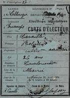 1936 - ESCAMPS (46) - CARTE D'ELECTEUR -Robert CAVAILLE - Elections Législatives - Historische Documenten