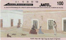 Uruguay, TM 13, 100 Units, Pintores Uruguayos: Figari, 1 Hole, 2 Scans. - Uruguay
