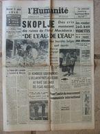 Journal L'Humanité (29 Juil 1963) Tremblement Skoplje - Presse Libre - Chirurgien Romans - Hôtel Albion Aix Les Bains - 1950 à Nos Jours