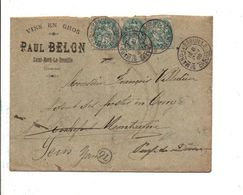 AFFRANCHISSEMENT COMPOSE DE BLANC SUR LETTRE A EN TETE DE SAINT MERD LA BREUILLE CREUSE 1905 - 1877-1920: Semi-Moderne