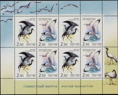 Russia, 2002, Mi. 1008-09, Y&T 6656-57, Sc. 6709, SG 7113-14, Birds, Cranes, Joint Issue With Kazakhstan, MNH - 1992-.... Federación