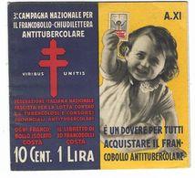 CLA476 - 3 CAMPAGNA NAZIONALE PER FRANCOBOLLO CHIUDILETTERA ANTITUBERCOLARE TUBERCOLOSI 1933 INTEGRO - 1900-44 Vittorio Emanuele III