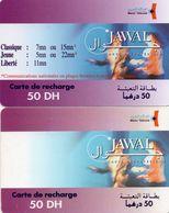 45 Maroc Marokko Morocco 2 Recharges Gsm  Prépayée 50 Dh Maroc Telecom - Maroc