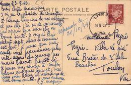 Lettre, Carte De Livron, Drome Pour Toulon, Var, Timbre Petain 1.20F, 1944       (bon Etat) - 1921-1960: Moderne