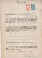 SLOVENIA, Yugoslavia Serbia Zemun Stamps Used Instead Taxe Revenues 1920 Document - Slovenia