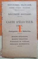 Carte D'électeur De La Sécurité Sociale De 1947 - Maps