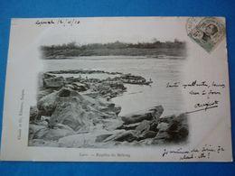 LAOS.  CPA  RAPIDES DU MEKONG VOYAGEE 1910 PRECURSEUR TIMBREE - Laos