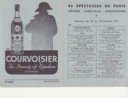 45 Spectacles De Paris- Théatres-music-halls, Chansonniers - Oct 1951 - Programmes