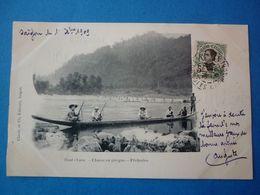 HAUT LAOS.  CPA  CHASSE EN PIROGUE PECHERIES  VOYAGEE 1909 PRECURSEUR TIMBREE - Laos