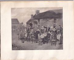 Aimé PERRET 1888 Le Banquet Gravure De 15X13cm Encadrée - Estampes & Gravures