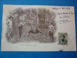 LAOS.  CPA  RETOUR DE CHASSE  VOYAGEE 1909 PRECURSEUR TIMBREE - Laos