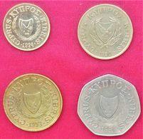 4 Münzen Zypern Cyprus 2 | 5 | 10 | 50 Cents | 1990 - 1994 - Chypre