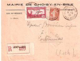 Seine Et Marne :- CHOISY EN BRIE Dateur Type A4 Sur Lettre Recommandée - Marcophilie (Lettres)
