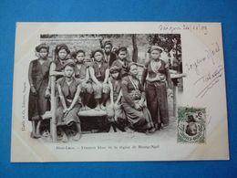 HAUT LAOS.  CPA  FEMMES KHAS DE LA REGION DU MUONG NGOI VOYAGEE 1909 PRECURSEUR TIMBREE - Laos