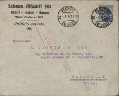 YT Rhodès N°7 Poste Italiane Victor Emmanuel III 25 Ct Surcharge Rodi CAD Rodi Egeo 1 9 17 Guerre 14 Censura Censore N°1 - Egeo (Rodi)
