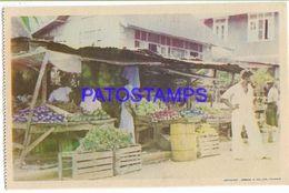 137140 CARIBBEAN TRINIDAD Y TOBAGO B.W.I COSTUMES NATIVE MARKET FRUIT POSTAL POSTCARD - Cartes Postales