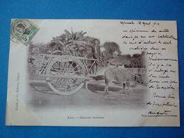 LAOS.  CPA  CHARRETTE LAOTIENNE  VOYAGEE 1910 PRECURSEUR TIMBREE - Laos