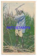 137141 CARIBBEAN TRINIDAD Y TOBAGO B.W.I COSTUMES NATIVE MAN CUTTING CANE POSTAL POSTCARD - Cartes Postales