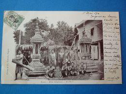 LAOS.  CPA  FETE RELIGIEUSE   VOYAGEE 1910 PRECURSEUR TIMBREE - Laos