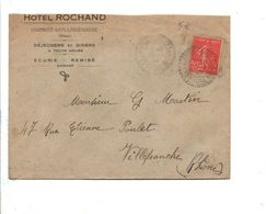 SEMEUSE SUR LETTRE A EN TETE D'HOTEL DE CHAMBOST SOUS LONGESSAIGNE RHONE 1932 - Storia Postale