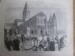 Gravure  1873 PARAY-LE- MONIAL  Pélerinage Sacré Coeur Tombeau Marie    .alacoque  Embleme Sacré Coeur - Estampes & Gravures