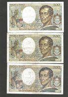 """France : 3 Billets De Banque (""""Montesquieu"""") - 1962-1997 ''Francs''"""