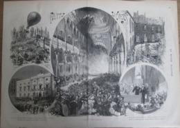 Gravure  1873 MARSEILLE ALCAZAR GRAND CAFE THEATRE  Incendie De L ALCAZAR      Comité Salut Public - Estampes & Gravures