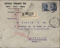 YT 7 Rhodès Poste Italiane V. Emmanuel III 25 Ct Surcharge Rodi CAD Rodi Egeo 9 11 16 Guerre 14 Censura X3 Recommandé - Egeo (Rodi)