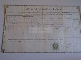 D172599 Old Document - Hungary  SZARVAS 1875  - Maria KNIESZNER   - Jankovics -Békés Szarvas - Boda