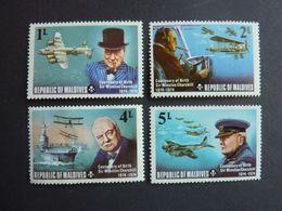 MALDIVES, Année 1974, YT N° 503-504-506-507 Neufs MNH** (Churchill Et Avions WW2) - Airplanes
