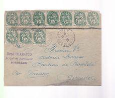 Une Bande De Timbre  5c  Type Blanc  Sur Un Devant D'enveloppe   Année 1928 - 1900-29 Blanc