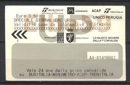 Perugia (PG - Umbria ), 2019 Minimetrò, Biglietto Giornaliero UP, 3-1-2019 - Chemins De Fer