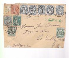 Timbre Type Blanc  1 C Et  5 C    &  Type Semeuse  5c Et 10 C  Sur Un Devant De Lettre  Année 1926 - 1900-29 Blanc