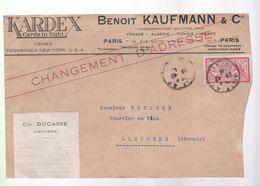 Timbre 40 C Type Merson Sur Un Devant D'enveloppe   Ets: Benoit   Kaufmann - 1900-27 Merson