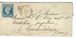 FRANCE 1858: LAC Avec Le Y&T 14A  Obl. PC 207 (Avesnes-le-Comte, Ind.8) - 1853-1860 Napoléon III.