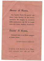 CLA478 - VOLANTINO CENTRO ITALIANO FEMMINILE PER LE DONNE DI ROMA PAOLO VI BASILICA S PIETRO - Programmes