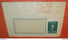BRD 020 AFS (21b) Werdohl 30.01.1952 Kracht-Pumpen + Vignette Helsinki Olympiade - Brief Meter Cover (2 Foto)(137276) - [7] Federal Republic