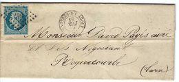 FRANCE 1858: LAC Avec Le Y&T 14B  Obl. PC 647 (Castres-s-l'Agout, Ind.2) - 1853-1860 Napoléon III.