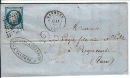 FRANCE 1858: LAC Avec Le Y&T 14A  Obl. PC 1639 (Langres, Ind.2) - 1853-1860 Napoléon III.