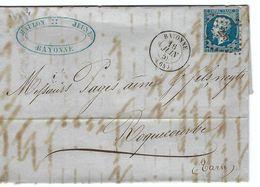 FRANCE 1859: LAC Avec Le Y&T 14A  Obl. PC 295  (Bayonne, Ind.1) - 1853-1860 Napoléon III.
