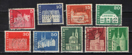 SVIZZERA - 1968 - EDIFICI STORICI: LENZBURG, NAFELS, APPENZELL, SAMEDAN, GAIS, NEUCHATEL, S. VITALE, PAYERNE - USATI - Switzerland