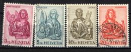 SVIZZERA - 1961 - I 4 EVANGELISTI - SCULTURE IN LEGNO - USATI - Oblitérés