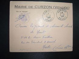 LETTRE MAIRIE OBL. Tiretée 21-9 1965 CURZON VENDEE (85) - Marcofilia (sobres)