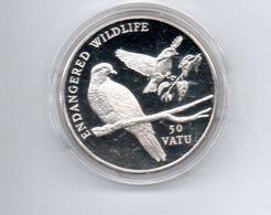VANUATU 50 VATU 1992 ZILVER PROOF ENDANGERED WILDLIFE PIGEONS - Vanuatu
