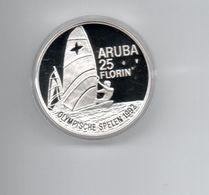 ARUBA 25 FLORIN 1992 ZILVER PROOF OLYMPICS 1992 WINDSURFING - Antillas