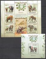 QQ092 2010 MOZAMBIQUE FAUNA ENVIRONMENT WILD ANIMALS ELEPHANTS KB+BL MNH - Elefanti